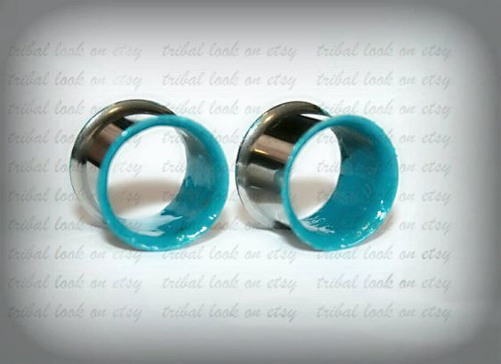 Turquoise-Stainless steel gauges Ears plugs-Double door triballook