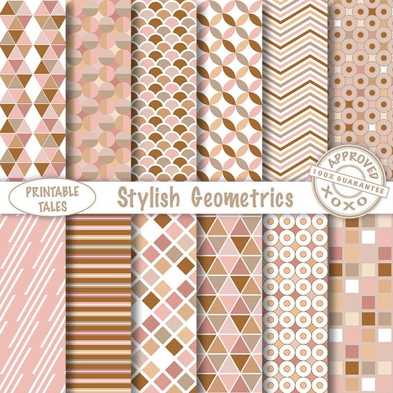 Geometric digital papers - Scrapbook Pages stripes circles triangle chevron Earth Tones - More Info? scroll to Item Details - Commercial use by PrintableTales on Etsy https://www.etsy.com/listing/246154679/geometric-digital-papers-scrapbook-pages