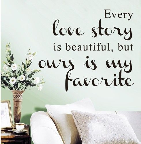love theme wall decal love story sayings quotes removable vinyl wall sticker diy art home decor sayings decals every love story is beautiful