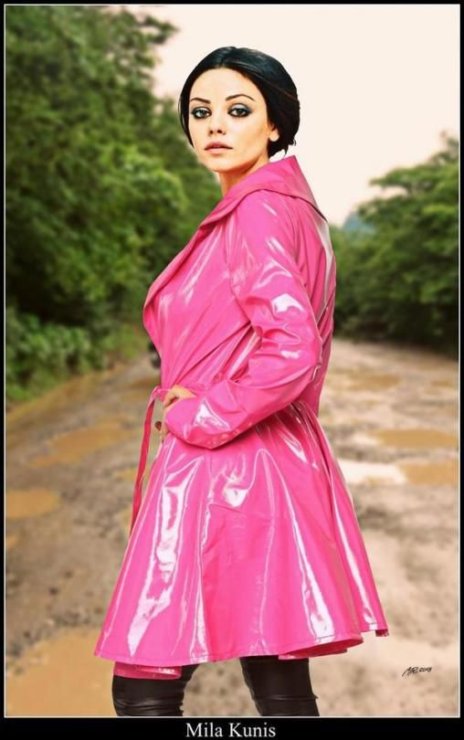 Celebs In Raincoats Pink Raincoat, Pink Plastic Trench Coat