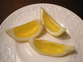 Lemon Drop Jello Shots  - 8 large lemons  - 2 packages lemon Jello (3 oz each)  - 1 cup boiling water  - 1 cup citrus vodka  - 1/2 cup lemon juice  - 1/2 cup ice cold water    Cut the lemons in half lengthwise. Squeeze the lemon juice out into a separate container and set aside.  Use a spoon to scoop out all of the insides and pulp.  You can use a paring knife to help separate the inside, but be sure not to cut through the lemon peel.  Once you have them all completely juiced and cleaned…