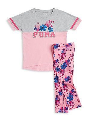 PUMA Girl's Short Sleeve Tee & Printed Pants Set - Light Heather - Siz