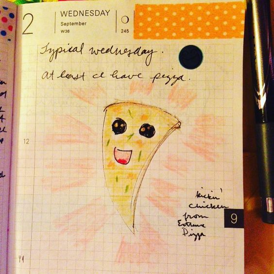 #sketches and stuff: a #kawaii #pizza #hobonichilove #prismacolor #washitape
