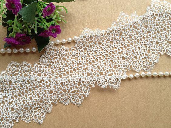 Largo bianco cotone pizzo retrò Venise Lace Trim Hollow Out Trim per accessori di gioielli design, forniture di abiti da sposa, Wedding Dress