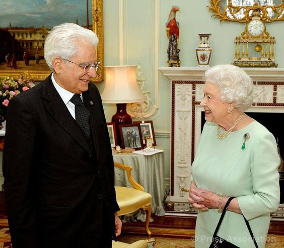 The Queen welcomes the President of Italy, Sergio Matterella to Buckingham Palace for an Audience, 28 May 2015.