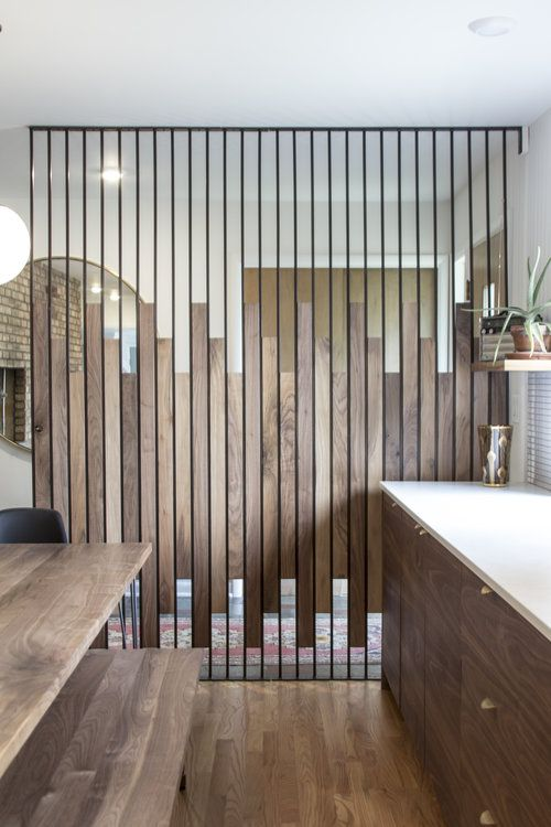 Steel And Walnut Screen Wall Fabricated By Synecdoche Design Studio Ann Arbor Mi For A Mid Ce Divider Design Office Interior Design Room Partition Designs