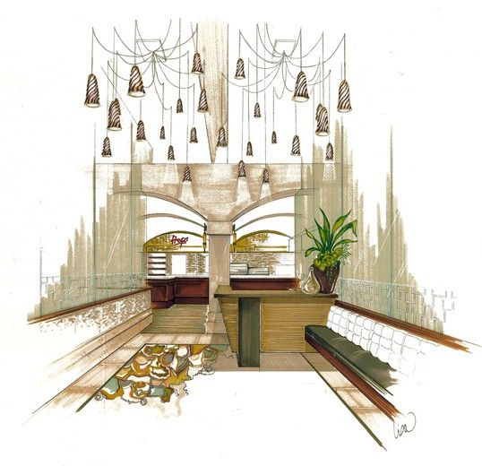 Fine Dining Lobby Interior Design Concept Sketch Lisa McDennon