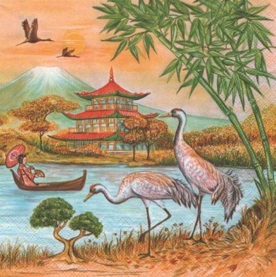 Pays : Serviette Asie et pagode 33 cm X 33 cm 3 plis http://fournitures-loisirs.les-creatifs.com/serviettes.php?refer=Asie-et-pagode pour la décoration de table