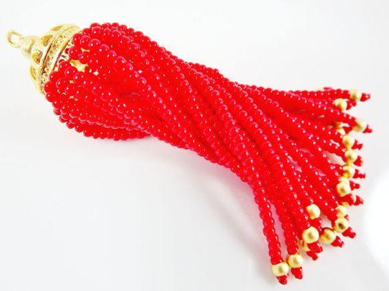 Long Red Beaded Tassel  22k Matte Gold Plated by LylaSupplies, $10.00