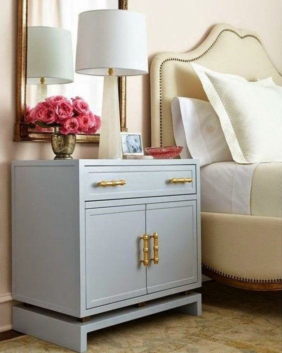 Gray lacquer nightstand the well appointed house http for Bedroom bureau knobs