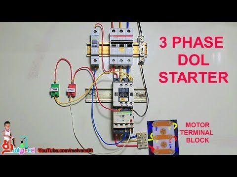 3 Phase Dol Starter Connection Three Phase Induction Motor Dol Starter In Tamil And English Youtube Motor Electrical Circuit Diagram Delta Connection