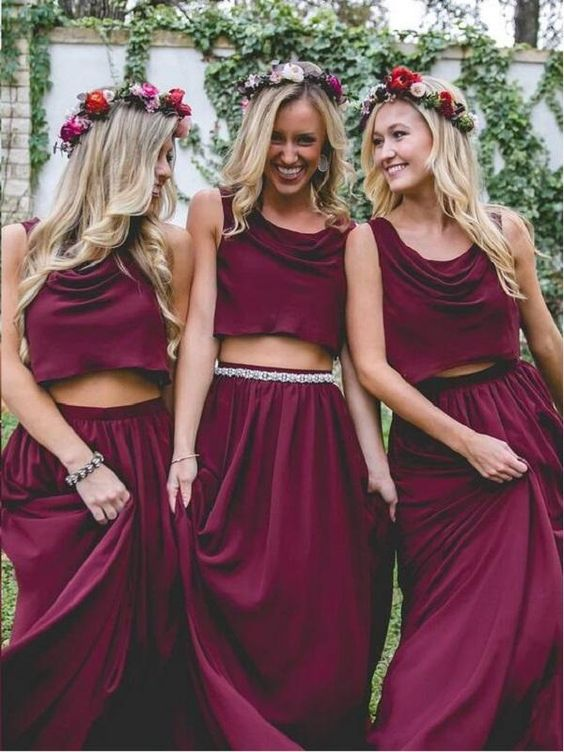 Burgundy Bridesmaid Dresses Burgundy is a beautiful color on all skin tones. If you have a lot of bridesmaids you can also put some girls in blush tones to visually break it up. If you are wearing a white or ivory dress, you are sure to stand out standing next to your girls.