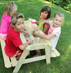 Table pique-nique en bois bac à sable intégré à couvercle Soulet