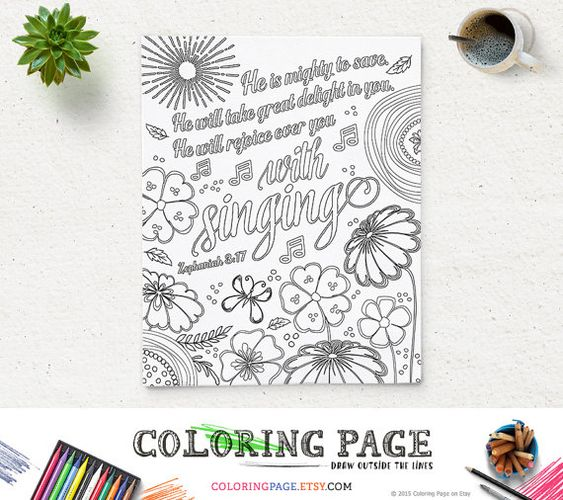 Coloring Page Printable Bible Verse He Is Mighty Zephaniah