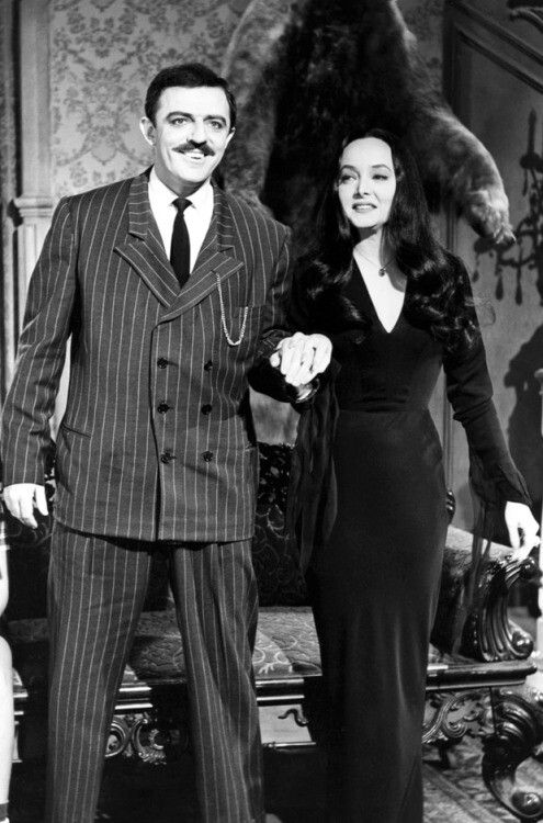 John Astin as Gomez and Carolyn Jones as Morticia in The Addams Family