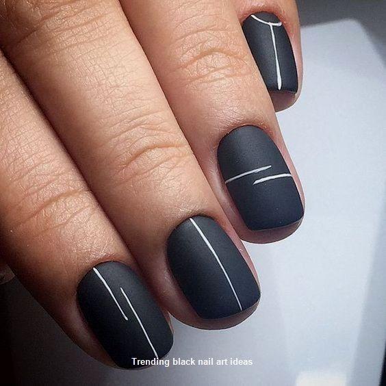 20 Simple Black Nail Art Design Ideas Nail Minimalist Nails Cute Nail Art Designs Matte Nails Design