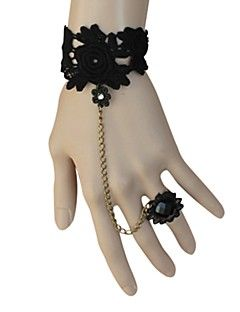 Floral preto Lace clássico Lolita Pulseira com anel da flor
