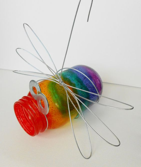 Outdoor Hanging Pint Size Glass Jar Bug- Rainbow