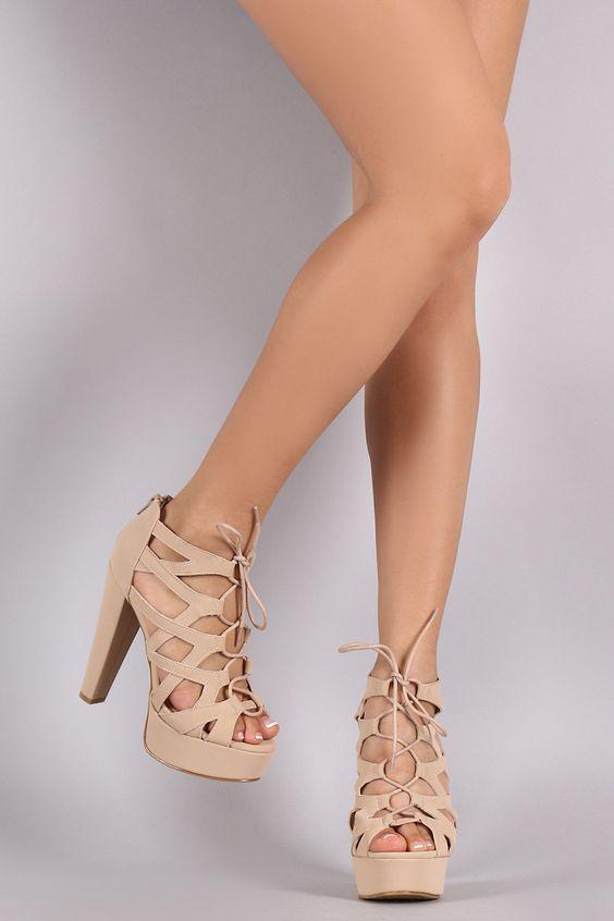 Bamboo Angle Cutouts Platform Chunky Heel