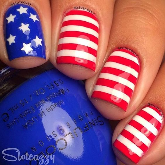 Red, White and Blue Patriotic Nail Design: