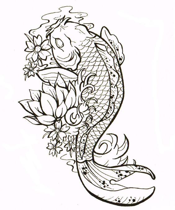 No outline tattoo style gemma louise hawkins koi carp for Koi fish outline
