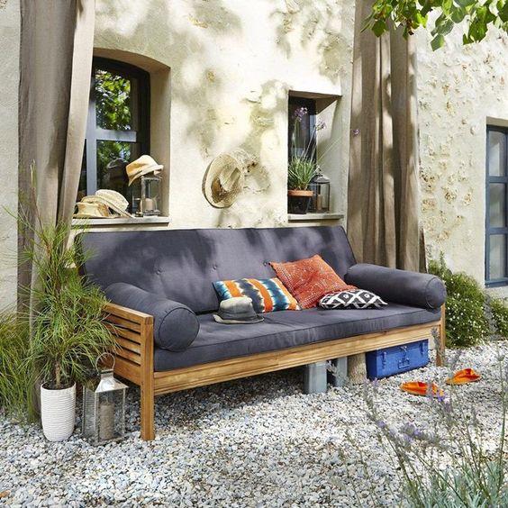 Banquette lit de jardin acacia ayumi acacia for Mobilier de jardin la redoute