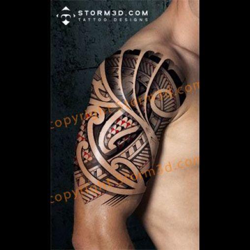 Shouldertattoo Halfsleeve Storm3d Design Mockup Dragonsleevetattoos Red Dragon Sleeve Tattoos Polynesian Tattoo Tattoos Japanese Tattoo