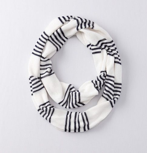 pointelle striped infinity scarf