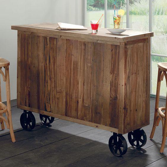Bar Granby Sapin Recycle Et Roulettes En Metal 2 Portes Avec 3 Niches Interieurs Et 2 Tiroirs Aisne Que Des Casie Meuble Bar Bar A Roulette Casier A Bouteille