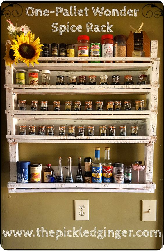 Pallet spice rack spice racks and pallets on pinterest for How to make a spice rack out of pallets