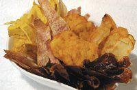 Tortillas de zapallo y chips para acompañarlas