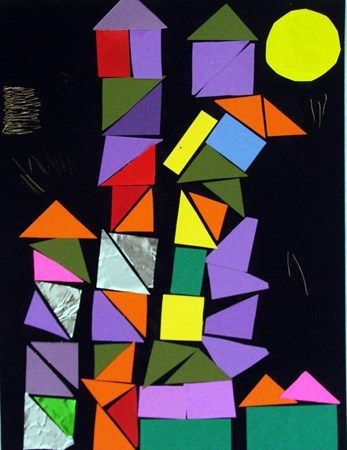 Students looked at Paul Klee's Castle and Sun. We discussed how the shapes were arranged differently than Kandinsky's artwork (Like in Brown Double Sound). We compared/contrasted both artists. K
