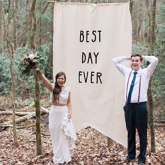 BEST DAY EVER. Love our real bride in @moonlightbridal #twopiece style J6361 with a #DIY banner made by the bride