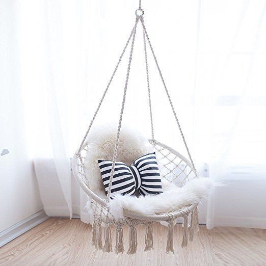Amazon Com Finebaby Handmade Knitted Swing Baby Room Decoration Furniture Hanging Chair For Rea Baby Room Decor Comfortable Bedroom Decor Girl Bedroom Designs