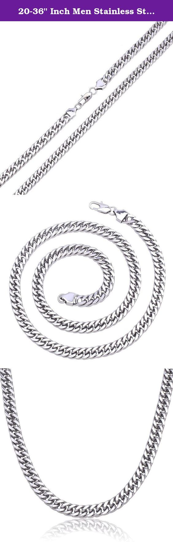 """20-36"""" Inch Men Stainless Steel Silver 10mm Heavy Miami Cuban Curb Necklace Chain Link Fashion Jewelry (36 Inches). Silver Color Necklace Available in 20"""" to 36"""". Silver Color Necklace Width:10 mm. You can wear it in any occasion. 100% Stainless Steel. High Polished."""