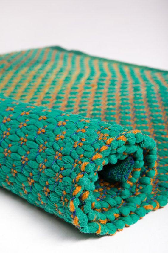 Seagreen Woven Rug Cotton Handmade Living Room Rag Floor Runner Scandinavian On The Loom Pinterest