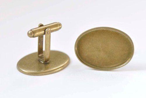 10pcs Antique Bronze Plated Cufflink Blanks with 18mm Round Bezel