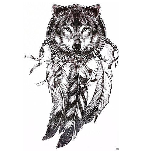 1 Pcs ملصقات الوشم الوشم المؤقت سلسلة الطوطم سلسلة الحيوانات آرت ديكو ريترو ضد الماء 3d الفنون الجسم وجه Tattoos Wolf Dreamcatcher Tattoo Wolf Tattoos