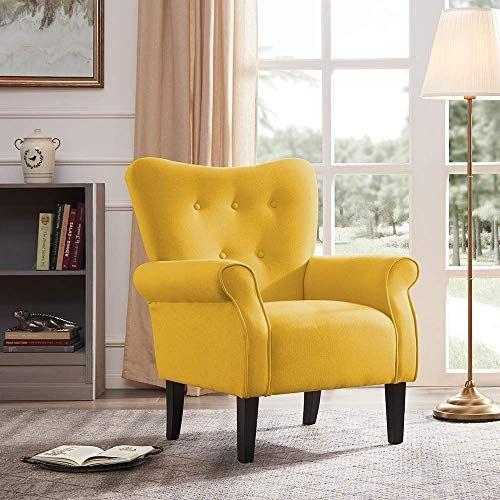 Best Seller Belleze Modern Accent Chair Roll Arm Linen Living Room