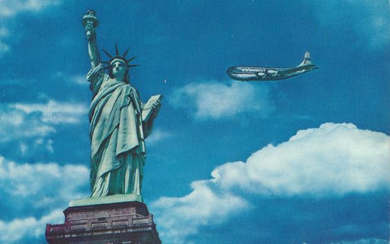Statue of Liberty-New York Harbor being flown past by a Pan American Clipper. Dated 1962 on the postmark.