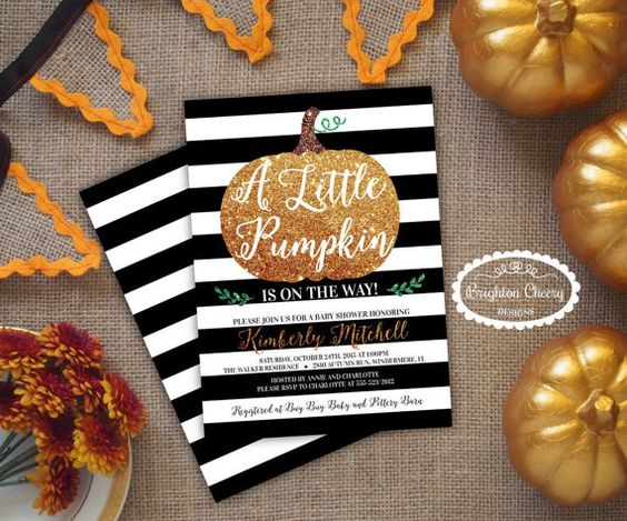 Pumpkin Baby Shower Invitation, FREE Back, Fall Invite, Orange Glitter, Black, Baby Boy or Girl, Gender Neutral, Rustic Autumn or Halloween