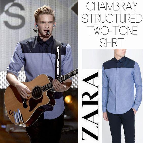 Male Fashion Trends: Cody Simpson y su Chambray Structured Two-Tone Shirt de Zara