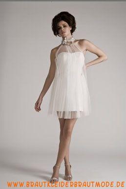 Sexy mini Brautkleid aus Organza und Satin
