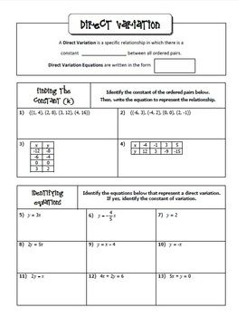 Printables Direct Variation Worksheets inverse variation worksheet davezan direct and notes homework activities and