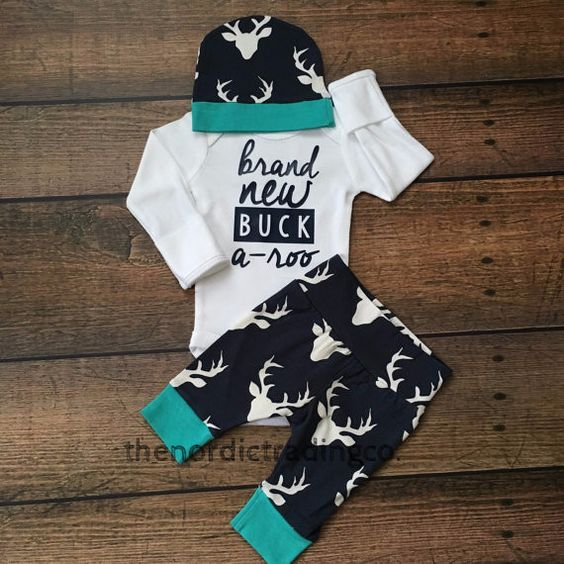 Brand New Buck A Roo Baby Boy Coming Home Keepsake Outfit Baby Shower Gift Set 3 pc. Deer Antler Theme Pant Hat LS Top Newborn Infant Clothing Gifts & Accessories