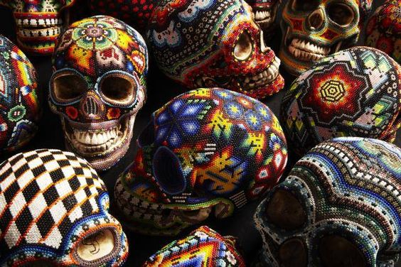 Beaded Skulls by the Huichol people of Western Mexico