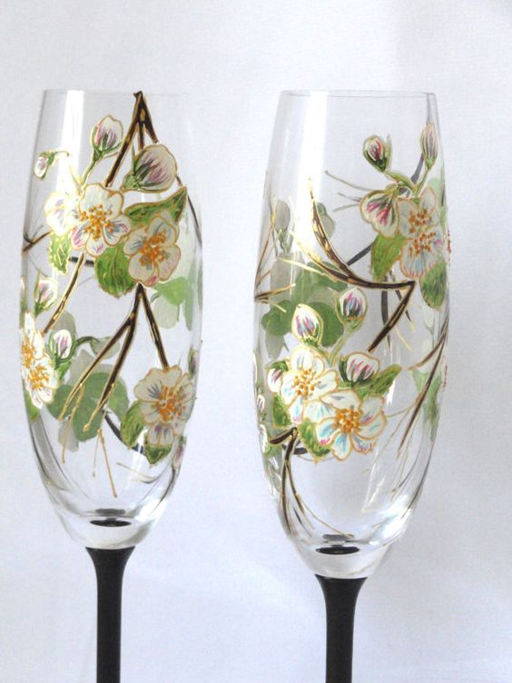 """Hand Painted WEDDING Champagne Flutes """"Blossoming apple tree branch"""" Set of 2"""