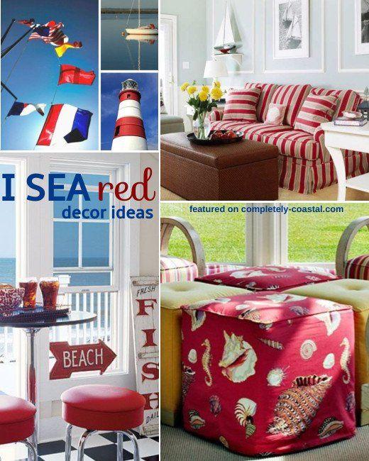 Beach Bedrooms Furniture Ideas Striking Red Coastal Decorating Ideas Coastal Decor Ideas In 2020 Beach Bedroom Furniture Coastal Decor Beach Themed Bedroom