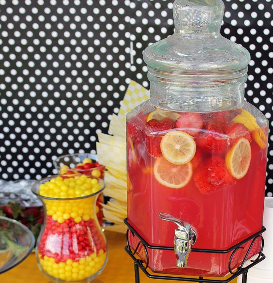 Sparkling Strawberry Lemonade from Taste of Home Cooking School Cookbook, a huge hit at my son's graduation party