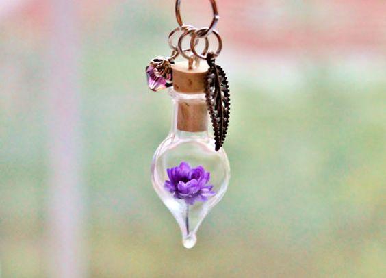 Améthyste collier fleur pourpre Terrarium collier améthyste bijoux cadeau Unique Février Birthstone collier en cristal véritable les fleurs séchées